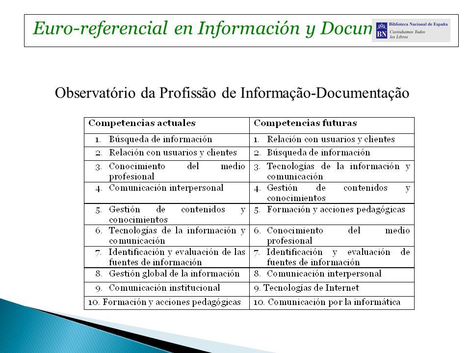 Observatório da Profissão de Informação-Documentação Euro-referencial en Información y Documentación