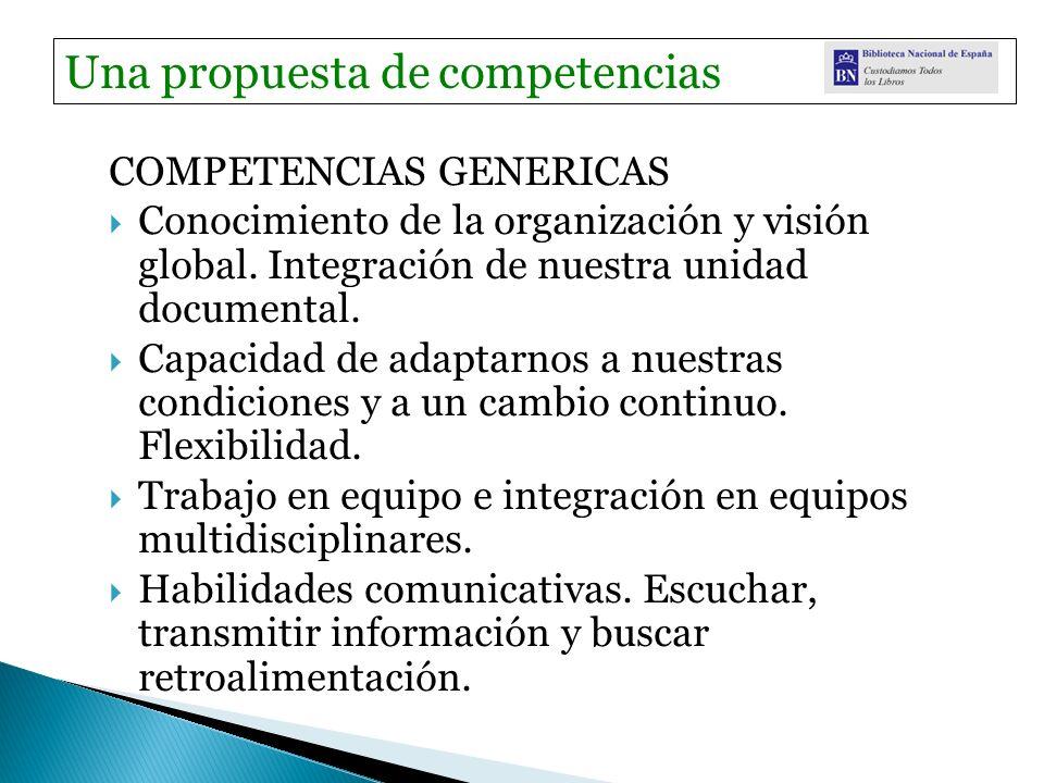 COMPETENCIAS GENERICAS Conocimiento de la organización y visión global. Integración de nuestra unidad documental. Capacidad de adaptarnos a nuestras c