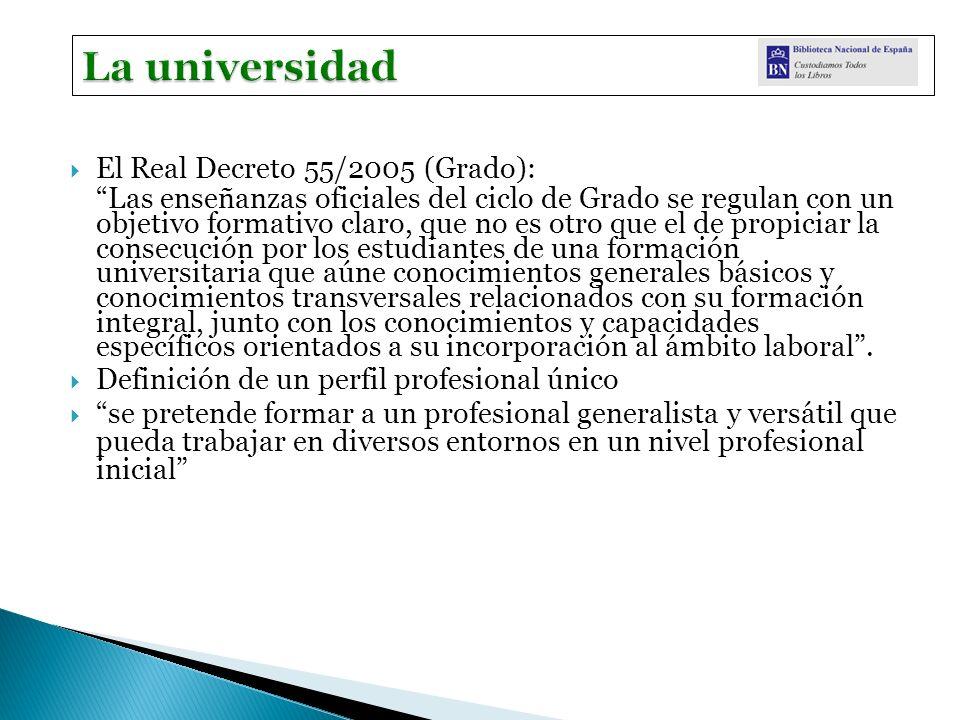 El Real Decreto 55/2005 (Grado): Las enseñanzas oficiales del ciclo de Grado se regulan con un objetivo formativo claro, que no es otro que el de prop