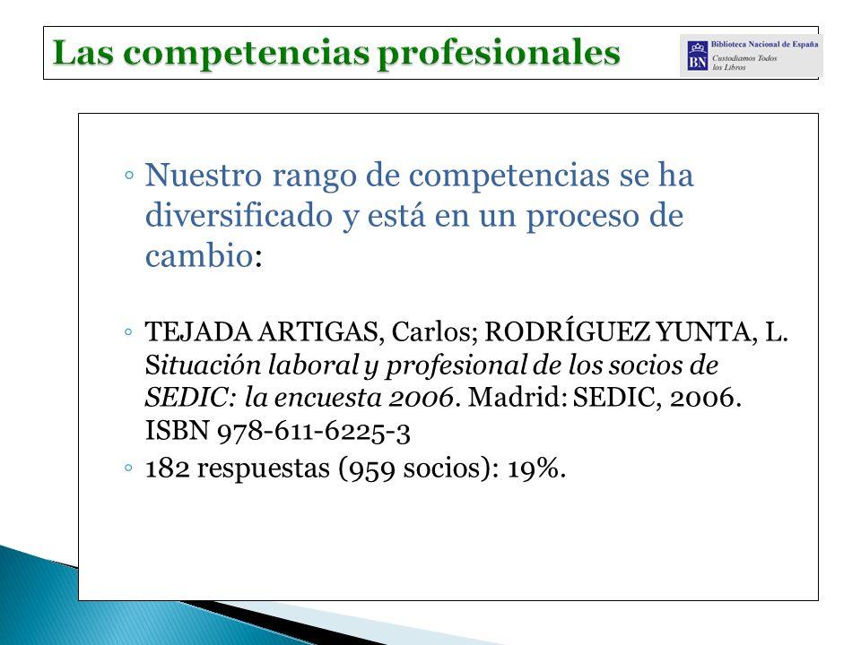 Nuestro rango de competencias se ha diversificado y está en un proceso de cambio: TEJADA ARTIGAS, Carlos; RODRÍGUEZ YUNTA, L. Situación laboral y prof