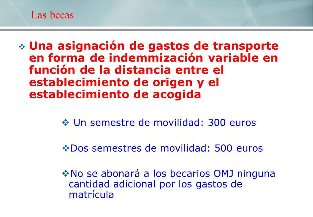 Una asignación de gastos de transporte en forma de indemmización variable en función de la distancia entre el establecimiento de origen y el estableci