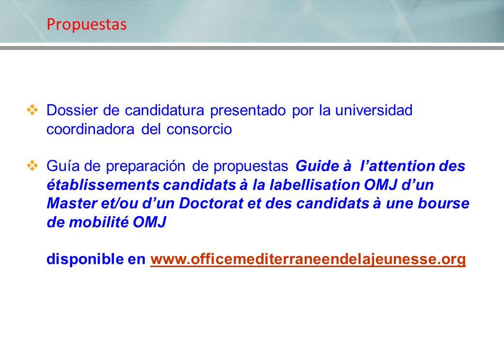 Propuestas Dossier de candidatura presentado por la universidad coordinadora del consorcio Guía de preparación de propuestas Guide à lattention des ét