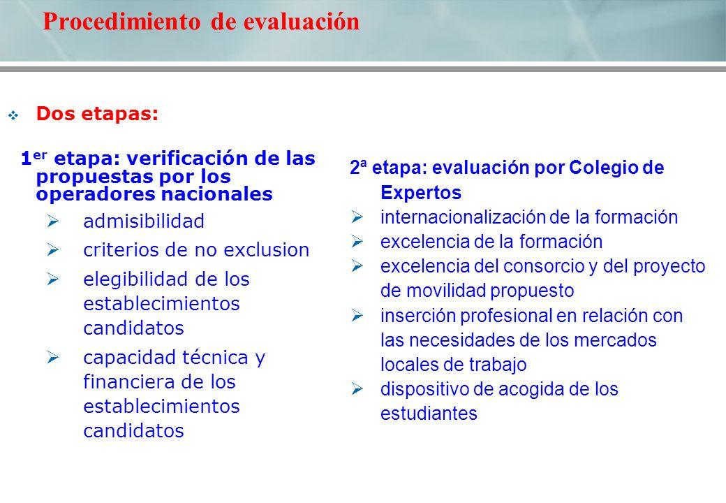 2ª etapa: evaluación por Colegio de Expertos internacionalización de la formación excelencia de la formación excelencia del consorcio y del proyecto d