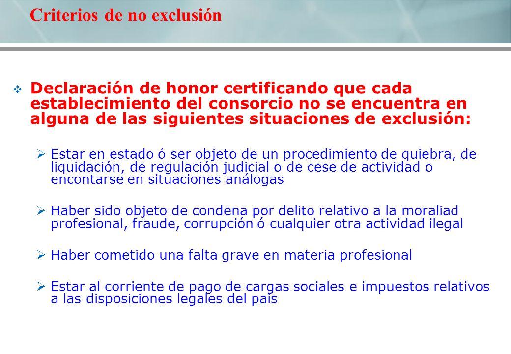 Declaración de honor certificando que cada establecimiento del consorcio no se encuentra en alguna de las siguientes situaciones de exclusión: Estar e