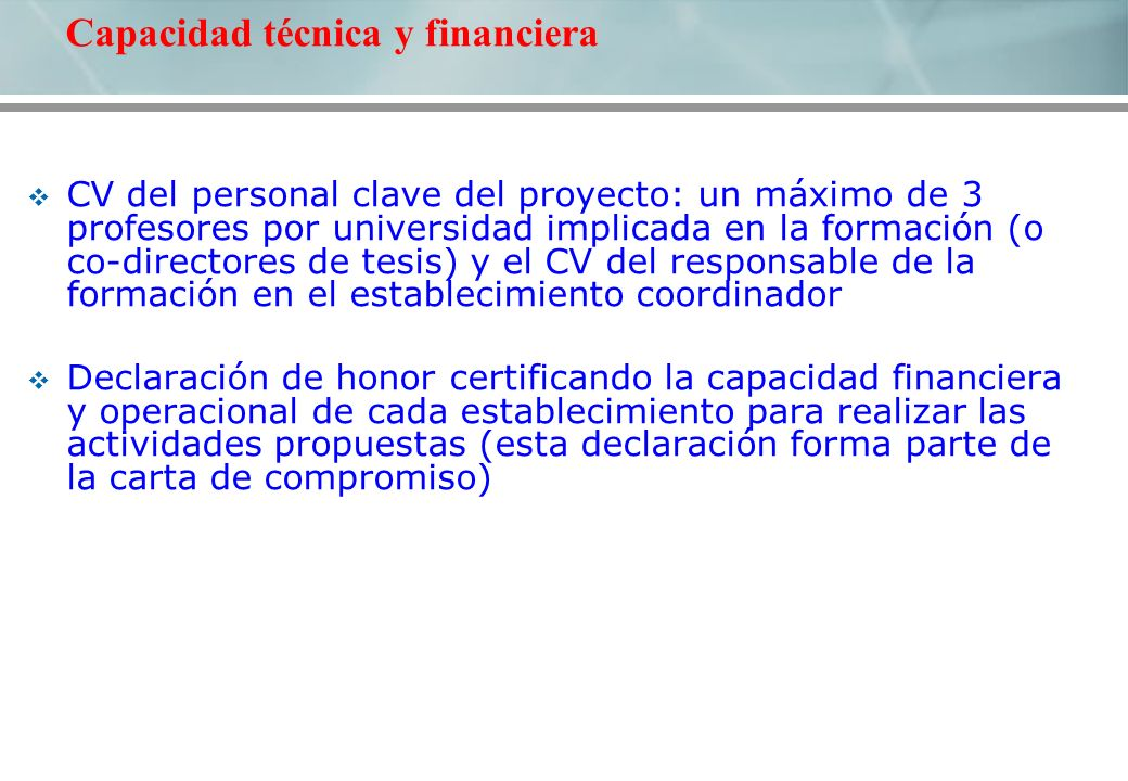 CV del personal clave del proyecto: un máximo de 3 profesores por universidad implicada en la formación (o co-directores de tesis) y el CV del respons