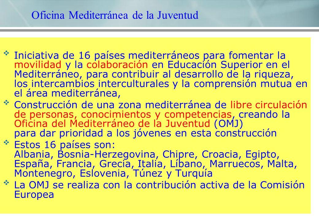 Iniciativa de 16 países mediterráneos para fomentar la movilidad y la colaboración en Educación Superior en el Mediterráneo, para contribuir al desarrollo de la riqueza, los intercambios interculturales y la comprensión mutua en el área mediterránea, Construcción de una zona mediterránea de libre circulación de personas, conocimientos y competencias, creando la Oficina del Mediterráneo de la Juventud (OMJ) para dar prioridad a los jóvenes en esta construcción Estos 16 países son: Albania, Bosnia-Herzegovina, Chipre, Croacia, Egipto, España, Francia, Grecia, Italia, Líbano, Marruecos, Malta, Montenegro, Eslovenia, Túnez y Turquía La OMJ se realiza con la contribución activa de la Comisión Europea Oficina Mediterránea de la Juventud