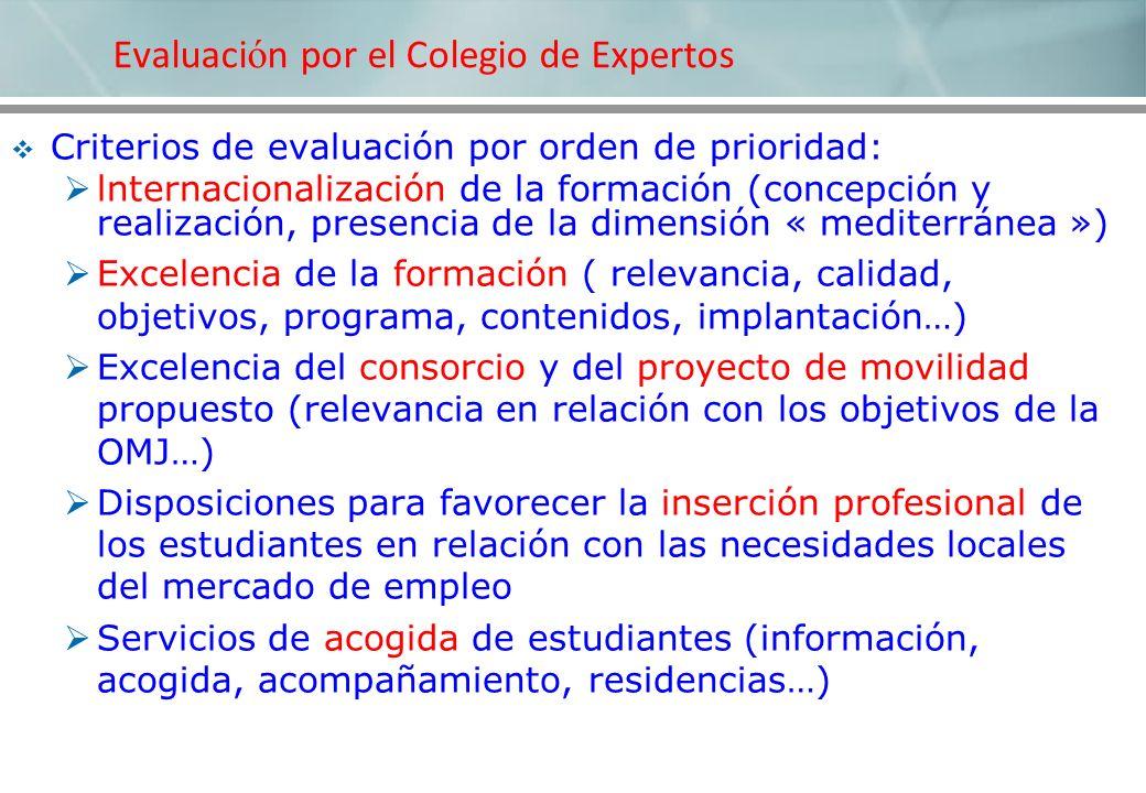 Criterios de evaluación por orden de prioridad: lnternacionalización de la formación (concepción y realización, presencia de la dimensión « mediterrán