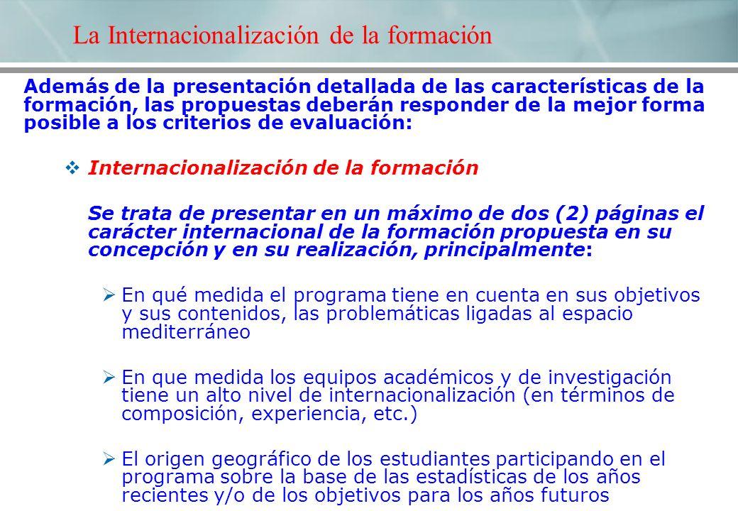 La Internacionalización de la formación Además de la presentación detallada de las características de la formación, las propuestas deberán responder d