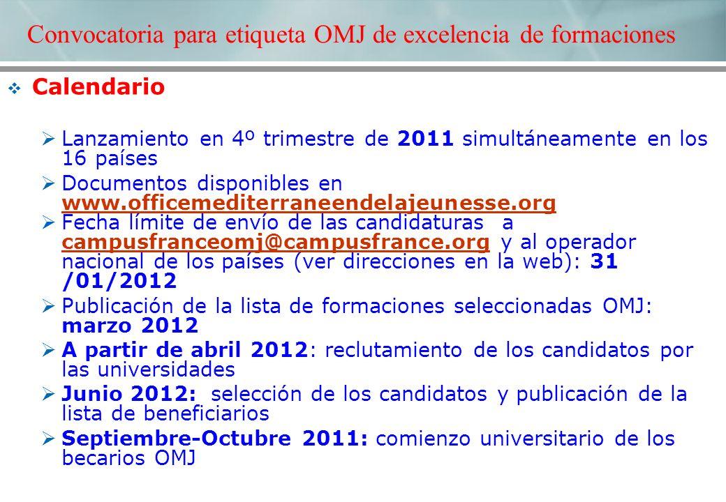 Calendario Lanzamiento en 4º trimestre de 2011 simultáneamente en los 16 países Documentos disponibles en www.officemediterraneendelajeunesse.org www.