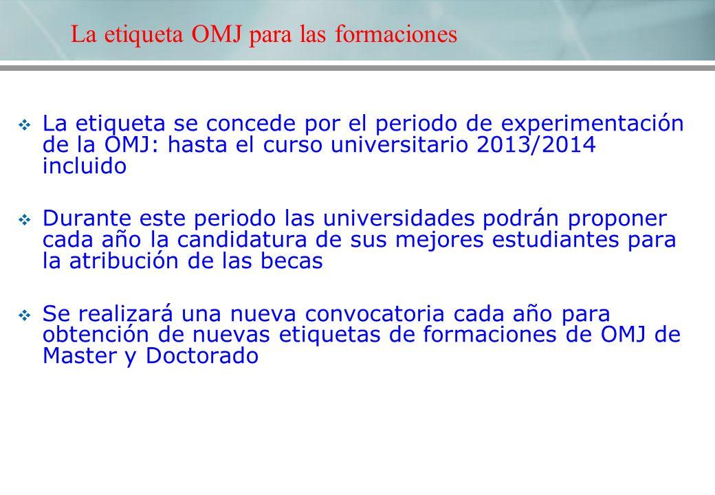 La etiqueta se concede por el periodo de experimentación de la OMJ: hasta el curso universitario 2013/2014 incluido Durante este periodo las universid