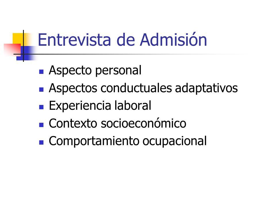 Entrevista de Admisión Aspecto personal Aspectos conductuales adaptativos Experiencia laboral Contexto socioeconómico Comportamiento ocupacional