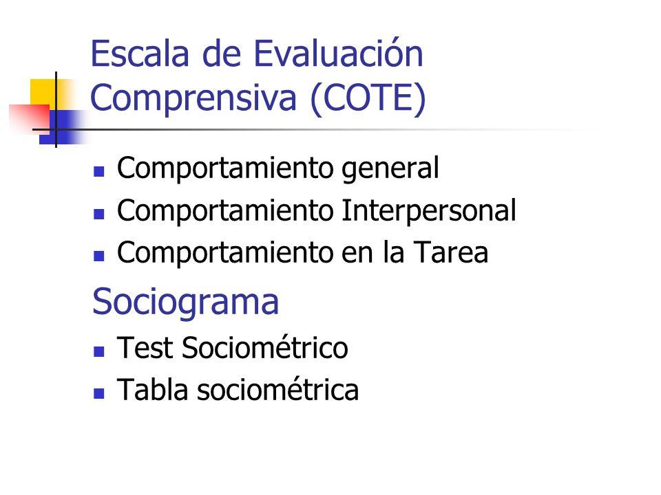 Escala de Evaluación Comprensiva (COTE) Comportamiento general Comportamiento Interpersonal Comportamiento en la Tarea Sociograma Test Sociométrico Ta