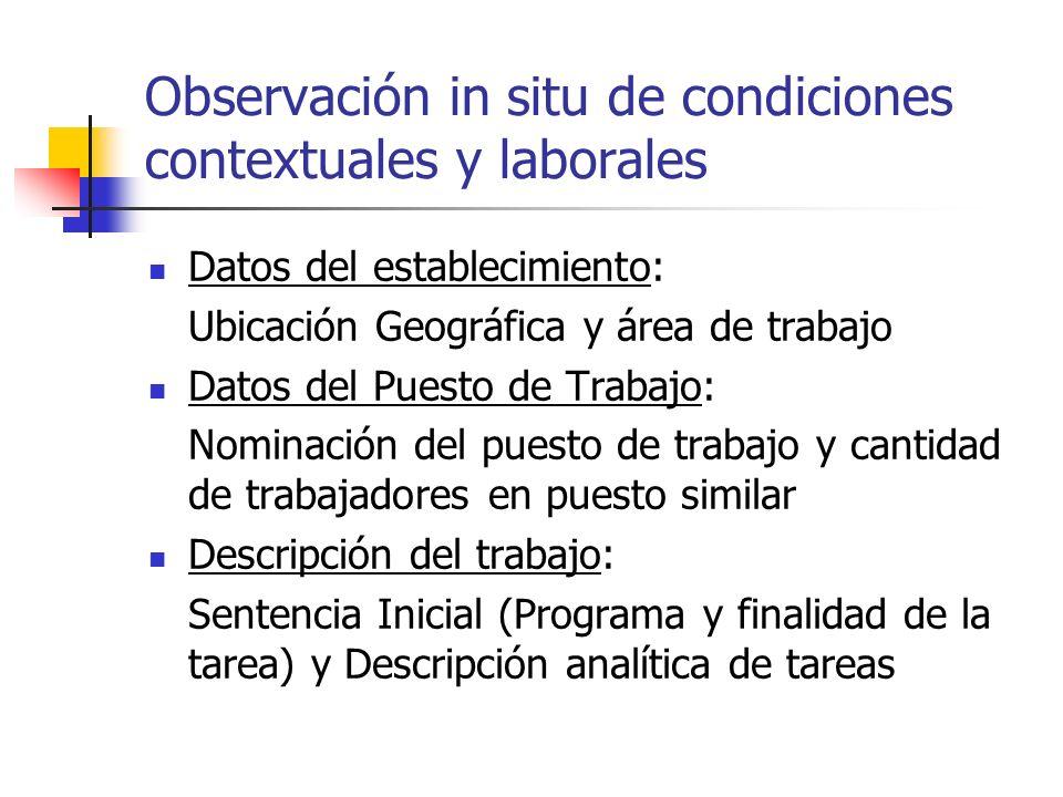 Observación in situ de condiciones contextuales y laborales Datos del establecimiento: Ubicación Geográfica y área de trabajo Datos del Puesto de Trab