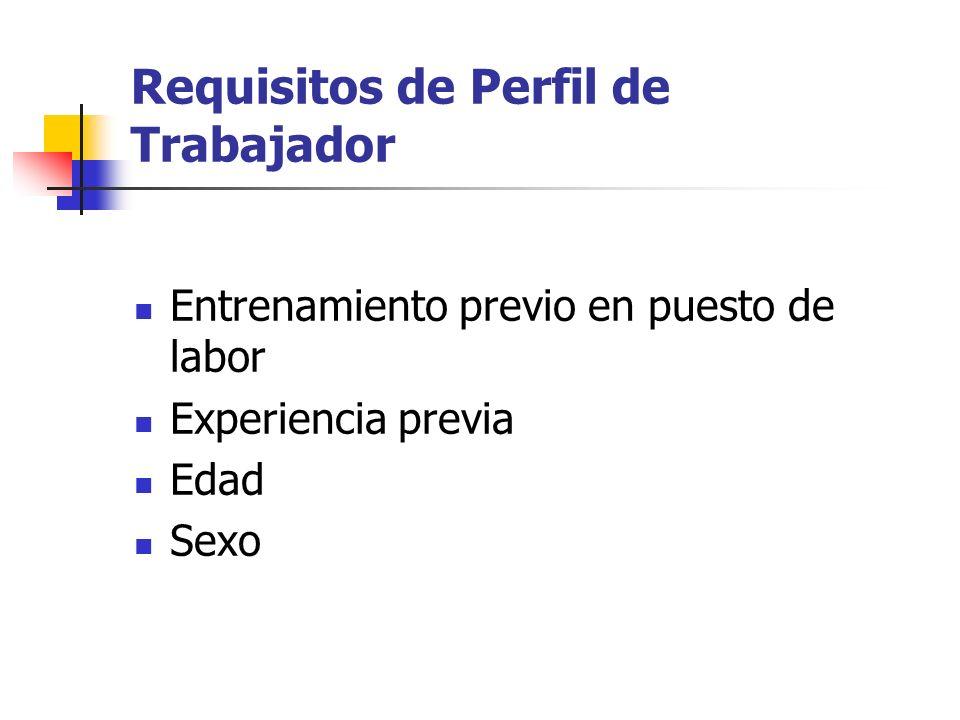 Requisitos de Perfil de Trabajador Entrenamiento previo en puesto de labor Experiencia previa Edad Sexo