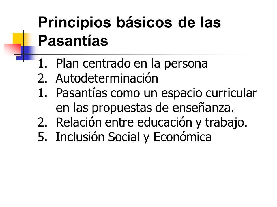 Principios básicos de las Pasantías 1.Plan centrado en la persona 2. Autodeterminación 1.Pasantías como un espacio curricular en las propuestas de ens