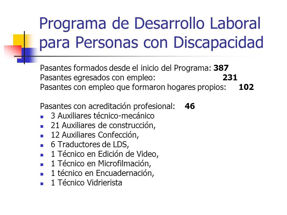 Programa de Desarrollo Laboral para Personas con Discapacidad Pasantes formados desde el inicio del Programa: 387 Pasantes egresados con empleo: 231 P