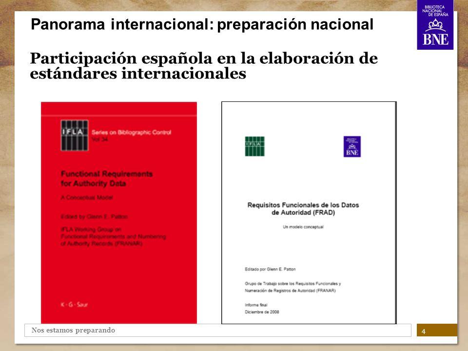 Nos estamos preparando Participación española en la elaboración de estándares internacionales 5 Panorama internacional: preparación nacional 2003 Europa - Frankfurt 2004 Latinoamérica y Caribe - Buenos Aires 2005 Próximo Oriente - El Cairo 2006 Asia - Seúl 2007 Africa - Durban Reuniones IFLA de Expertos en Catalogación (IME ICC):