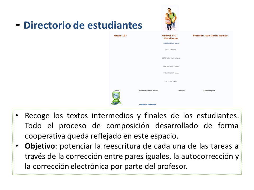 - Directorio de estudiantes Recoge los textos intermedios y finales de los estudiantes. Todo el proceso de composición desarrollado de forma cooperati