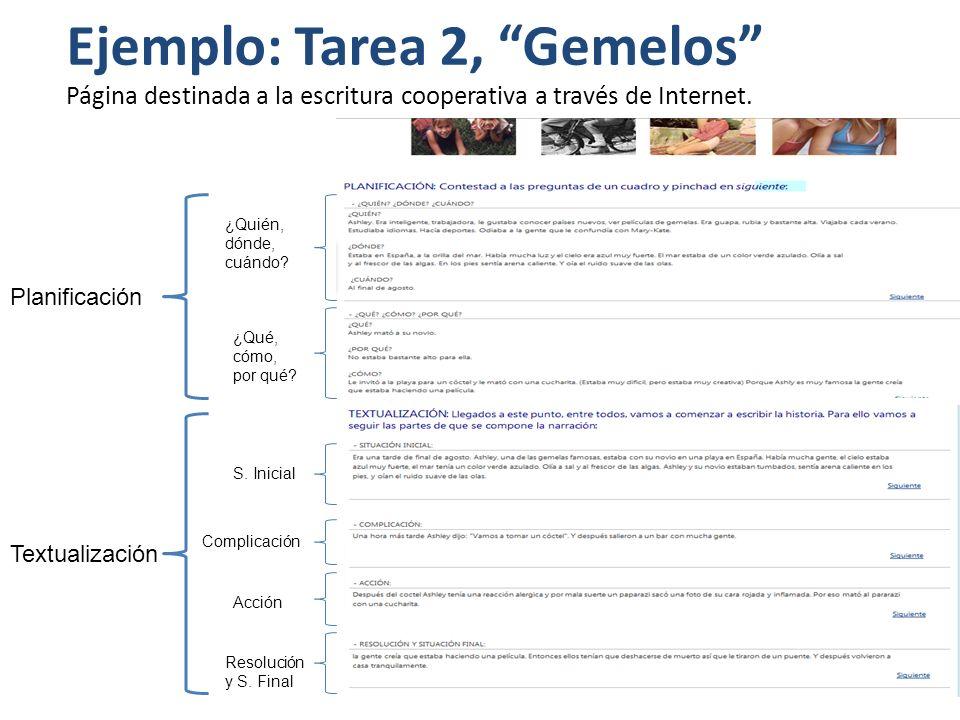 Página destinada a la escritura cooperativa a través de Internet. Ejemplo: Tarea 2, Gemelos Planificación Textualización ¿Quién, dónde, cuándo? ¿Qué,