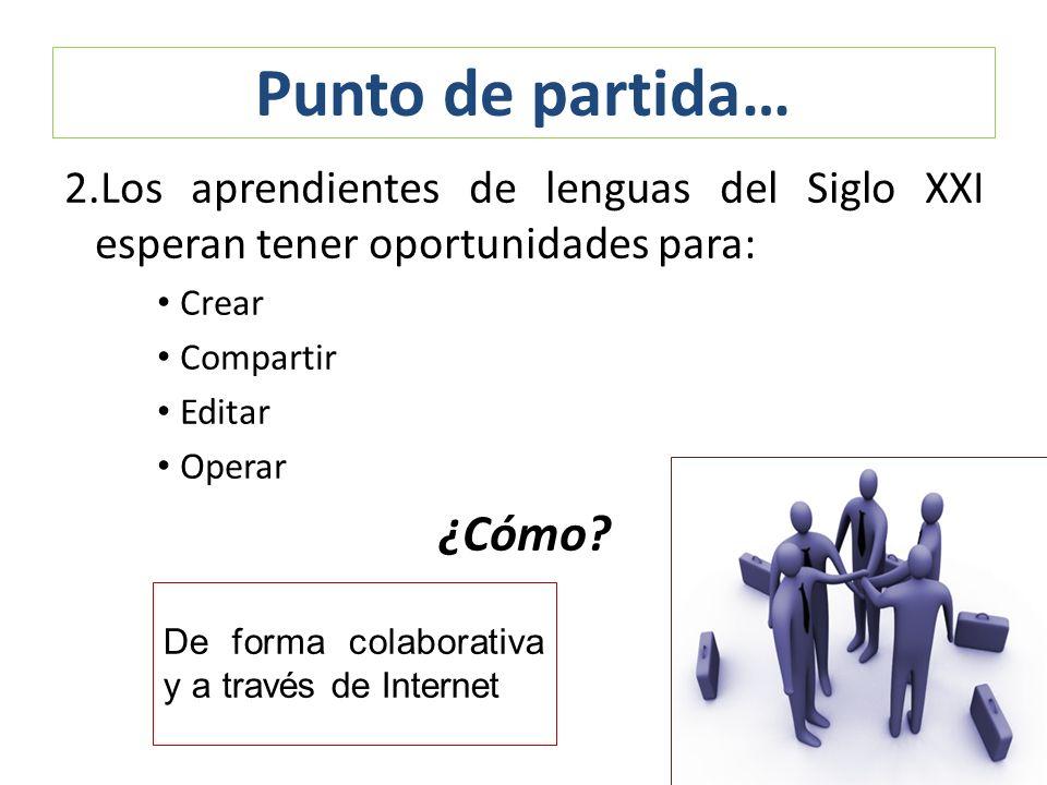 2.Los aprendientes de lenguas del Siglo XXI esperan tener oportunidades para: Crear Compartir Editar Operar ¿Cómo? Punto de partida… De forma colabora