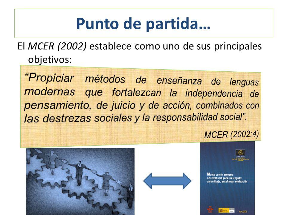 Punto de partida… El MCER (2002) establece como uno de sus principales objetivos: