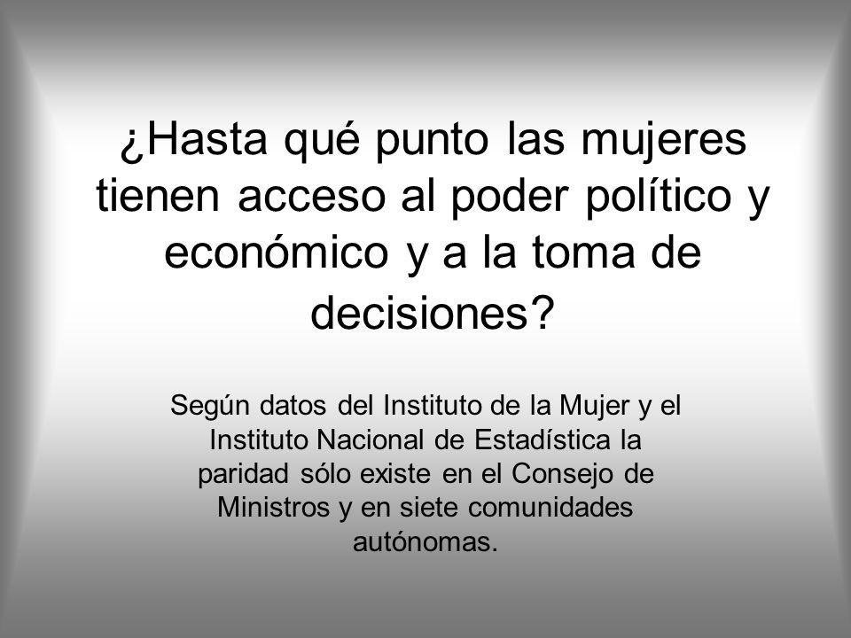 ¿Hasta qué punto las mujeres tienen acceso al poder político y económico y a la toma de decisiones.