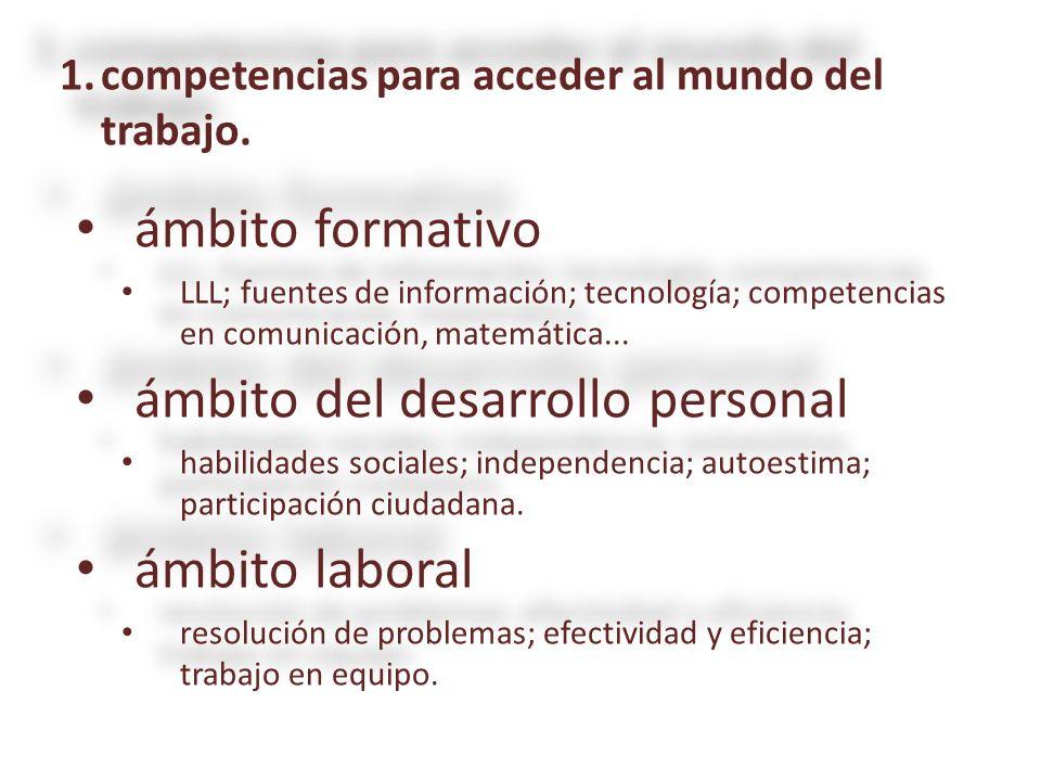 1.competencias para acceder al mundo del trabajo. ámbito formativo ámbito formativo LLL; fuentes de información; tecnología; competencias en comunicac