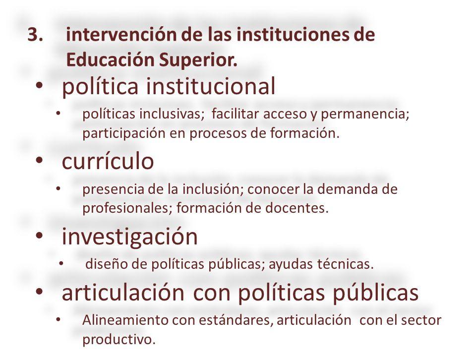 política institucional política institucional políticas inclusivas; facilitar acceso y permanencia; participación en procesos de formación. políticas