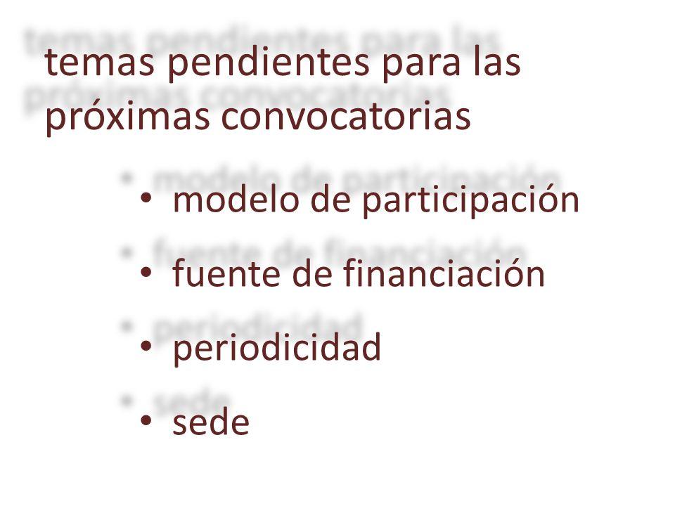modelo de participación modelo de participación fuente de financiación fuente de financiación periodicidad periodicidad sede sede temas pendientes para las próximas convocatorias