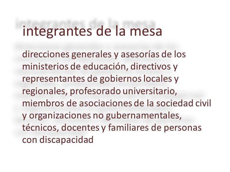 integrantes de la mesa direcciones generales y asesorías de los ministerios de educación, directivos y representantes de gobiernos locales y regionale