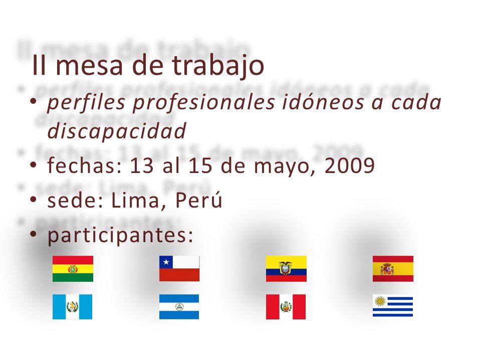II mesa de trabajo perfiles perfiles profesionales idóneos a cada discapacidad fechas: fechas: 13 al 15 de mayo, 2009 sede: sede: Lima, Perú participantes: participantes: