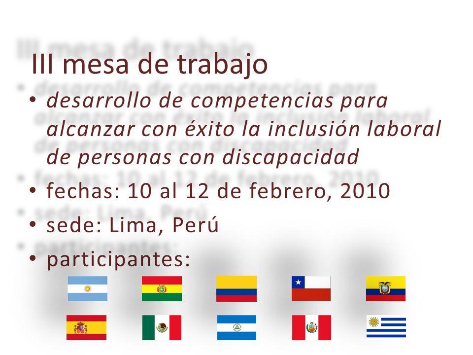 III mesa de trabajo desarrollo desarrollo de competencias para alcanzar con éxito la inclusión laboral de personas con discapacidad fechas: fechas: 10 al 12 de febrero, 2010 sede: sede: Lima, Perú participantes: participantes: