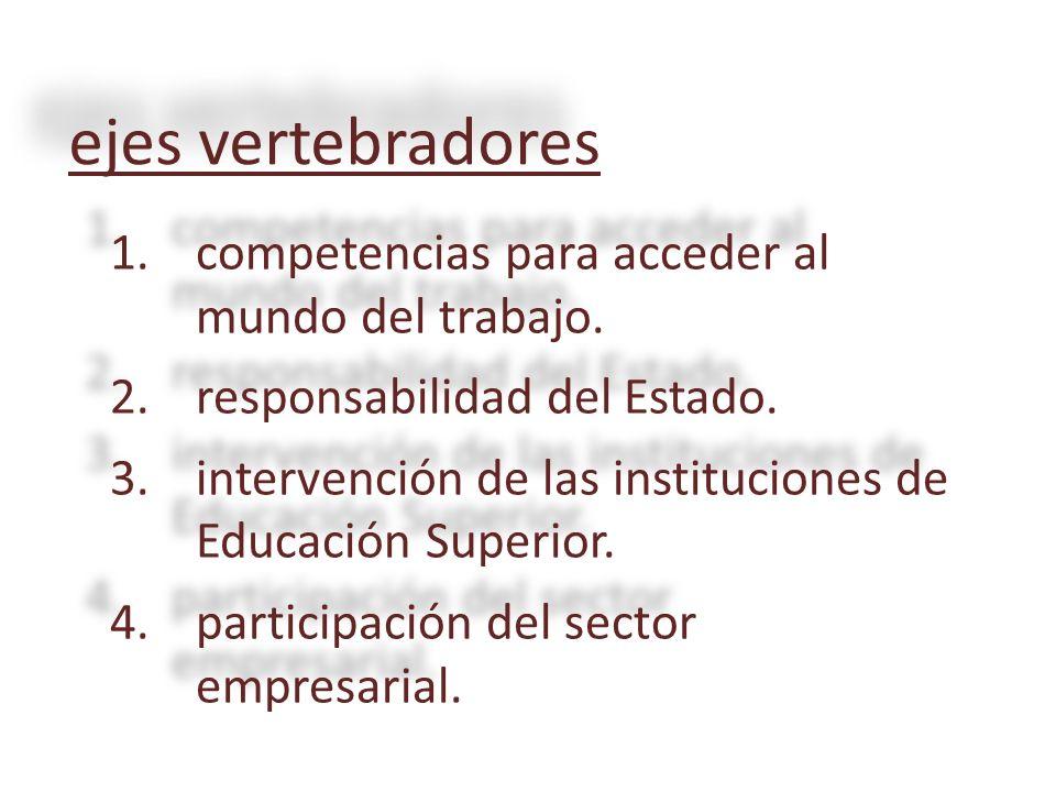 ejes vertebradores 1.competencias para acceder al mundo del trabajo. 2.responsabilidad del Estado. 3.intervención de las instituciones de Educación Su