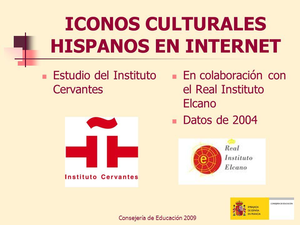 Consejería de Educación 2009 ICONOS CULTURALES HISPANOS EN INTERNET Estudio del Instituto Cervantes En colaboración con el Real Instituto Elcano Datos