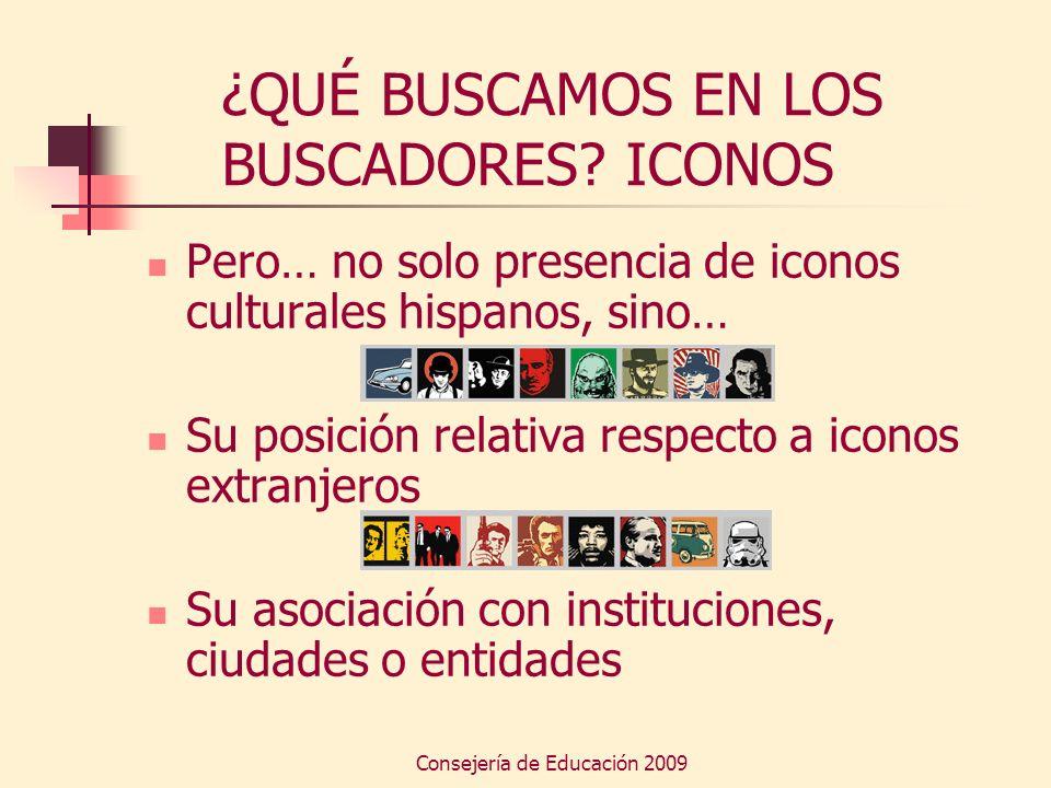 Consejería de Educación 2009 ¿QUÉ BUSCAMOS EN LOS BUSCADORES? ICONOS Pero… no solo presencia de iconos culturales hispanos, sino… Su posición relativa