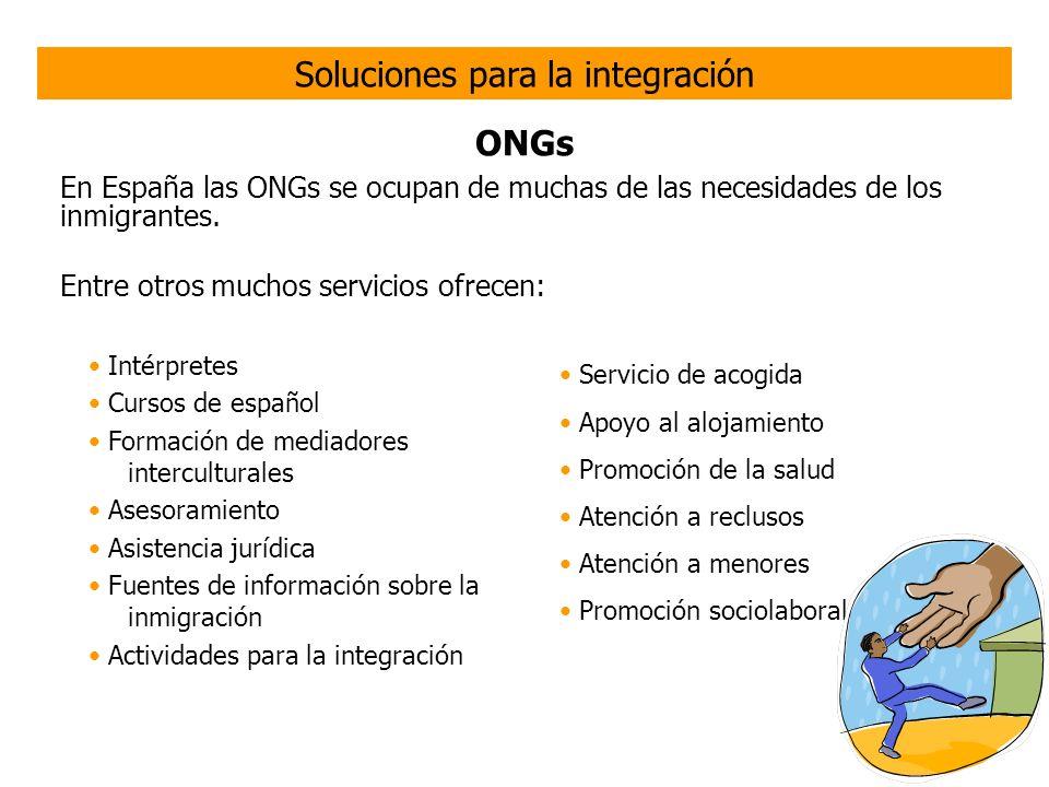 ONGs Algunas ONGs de ayuda al inmigrante: ATIME http://www.atime.es/presentacion.html Cáritas http://www.caritas.eshttp://www.caritas.es CEAR http://www.cear.es CEPAIM http://www.cepaim.orghttp://www.cepaim.org ACCEM http://www.accem.es Acoge http://www.acoge.orghttp://www.acoge.org MIGRAR http://www.migrar.org OFRIM http://gestiona.madrid.org/ofin_web/ html/web/index.htm Solidarios http://www.solidarios.org SOS Racismo http://www.sosracismo.org http://www.sosracismo.org COMRADE http://www.comrade.es/ Cruz Roja http://www.cruzroja.eshttp://www.cruzroja.es IEPALA http://www.iepala.es KARIBU http://www.asociacionkaribu.org