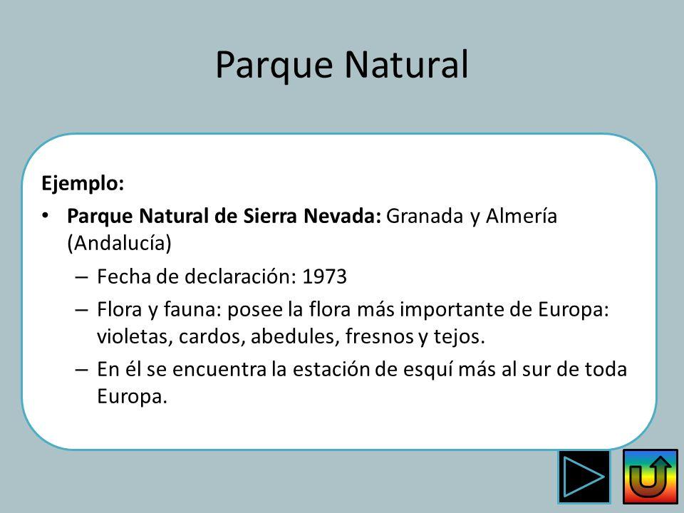 Parque Natural Ejemplo: Parque Natural de Sierra Nevada: Granada y Almería (Andalucía) – Fecha de declaración: 1973 – Flora y fauna: posee la flora má