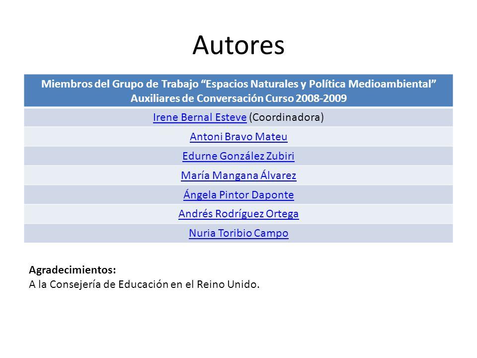 Autores Miembros del Grupo de Trabajo Espacios Naturales y Política Medioambiental Auxiliares de Conversación Curso 2008-2009 Irene Bernal EsteveIrene