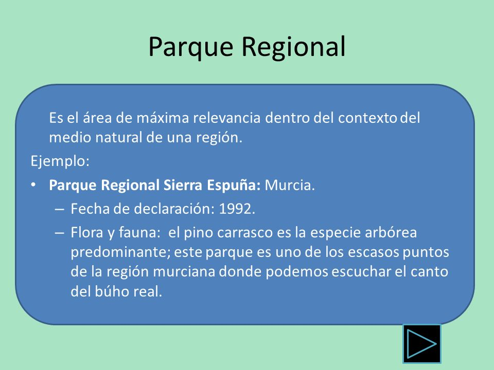 Parque Regional Es el área de máxima relevancia dentro del contexto del medio natural de una región. Ejemplo: Parque Regional Sierra Espuña: Murcia. –