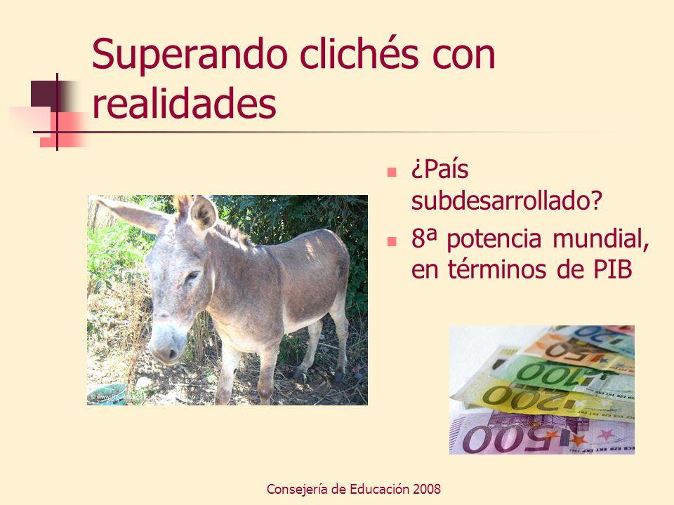 Consejería de Educación 2008 Superando clichés con realidades ¿País subdesarrollado? 8ª potencia mundial, en términos de PIB
