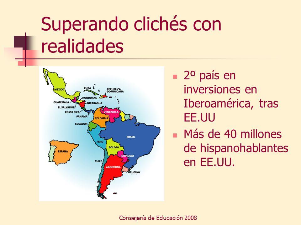 Consejería de Educación 2008 Superando clichés con realidades 2º país en inversiones en Iberoamérica, tras EE.UU Más de 40 millones de hispanohablante