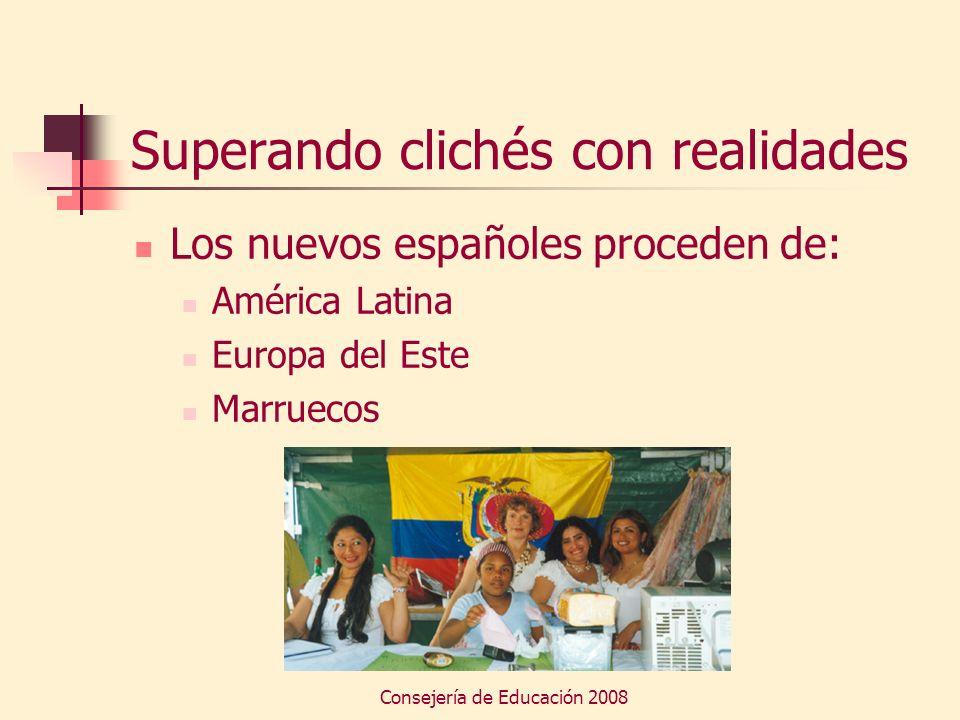 Consejería de Educación 2008 Superando clichés con realidades Los nuevos españoles proceden de: América Latina Europa del Este Marruecos
