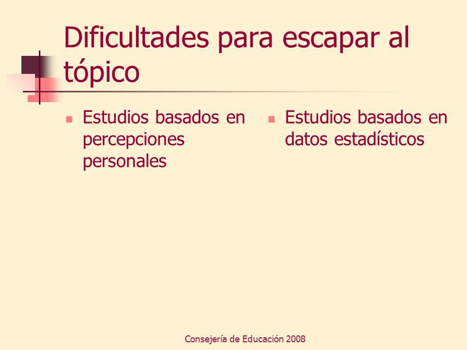 Consejería de Educación 2008 Dificultades para escapar al tópico Estudios basados en percepciones personales Estudios basados en datos estadísticos