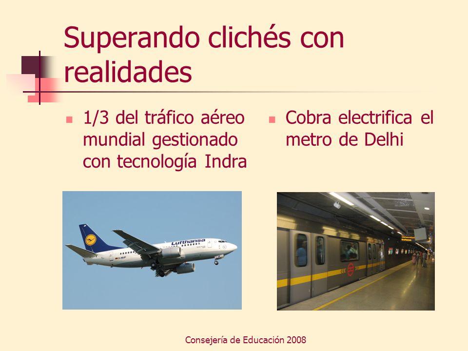 Consejería de Educación 2008 Superando clichés con realidades 1/3 del tráfico aéreo mundial gestionado con tecnología Indra Cobra electrifica el metro