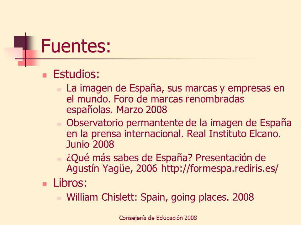 Consejería de Educación 2008 Fuentes: Estudios: La imagen de España, sus marcas y empresas en el mundo. Foro de marcas renombradas españolas. Marzo 20