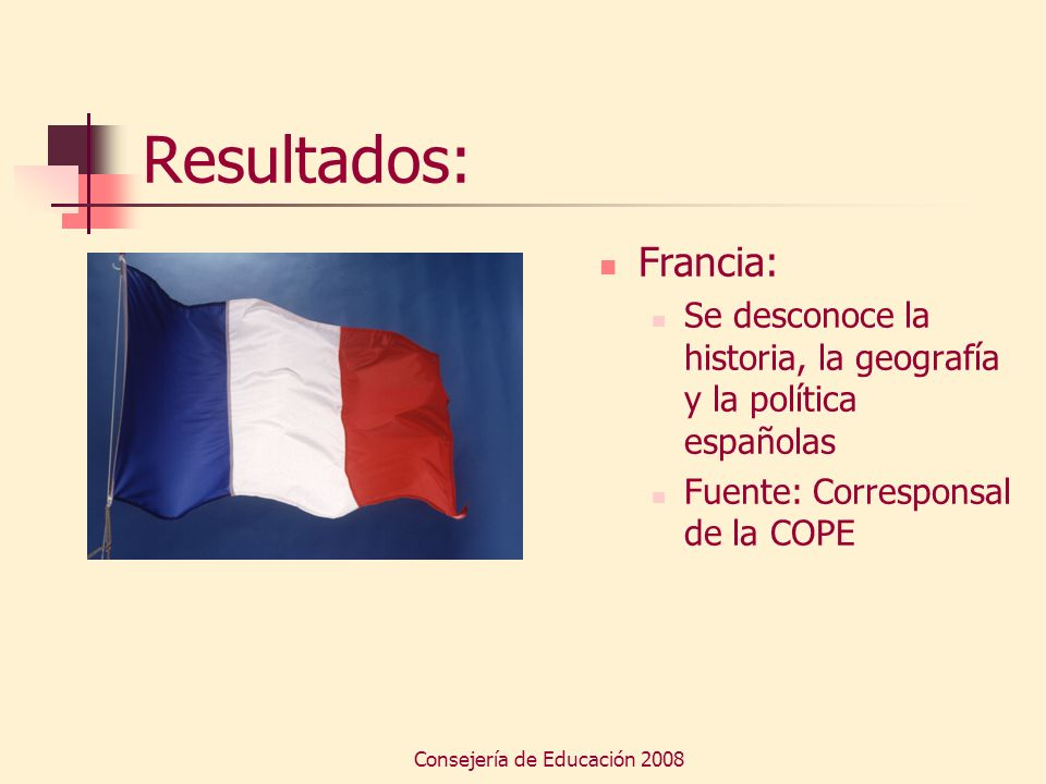 Consejería de Educación 2008 Resultados: Francia: Se desconoce la historia, la geografía y la política españolas Fuente: Corresponsal de la COPE