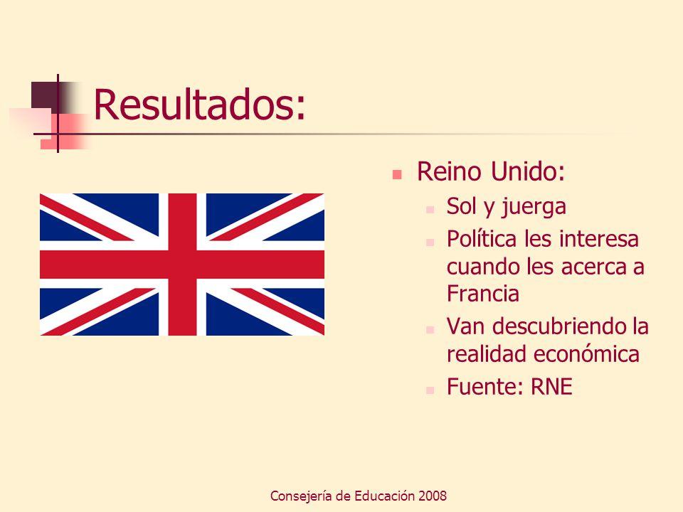 Consejería de Educación 2008 Resultados: Reino Unido: Sol y juerga Política les interesa cuando les acerca a Francia Van descubriendo la realidad econ
