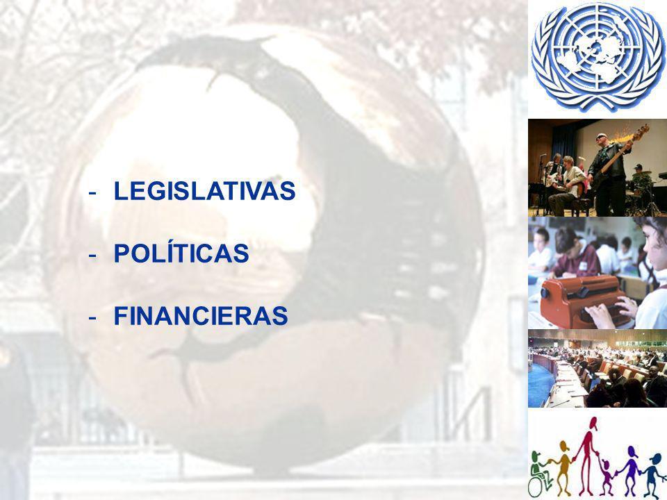 LEGISLATIVAS: Reconocer la educación inclusiva como derecho a lo largo de toda la vida Identificar normas comunes en relación con el derecho a la educación - Accesibilidad (medio físico, comunicación, información, tecnológico, social, económica) - Formulación de planes de estudios comunes - Inclusión de la formación en derechos humanos - Capacitación de personal docente - Apoyo individualizado - Coordinación de todas la esferas de la reforma educativa