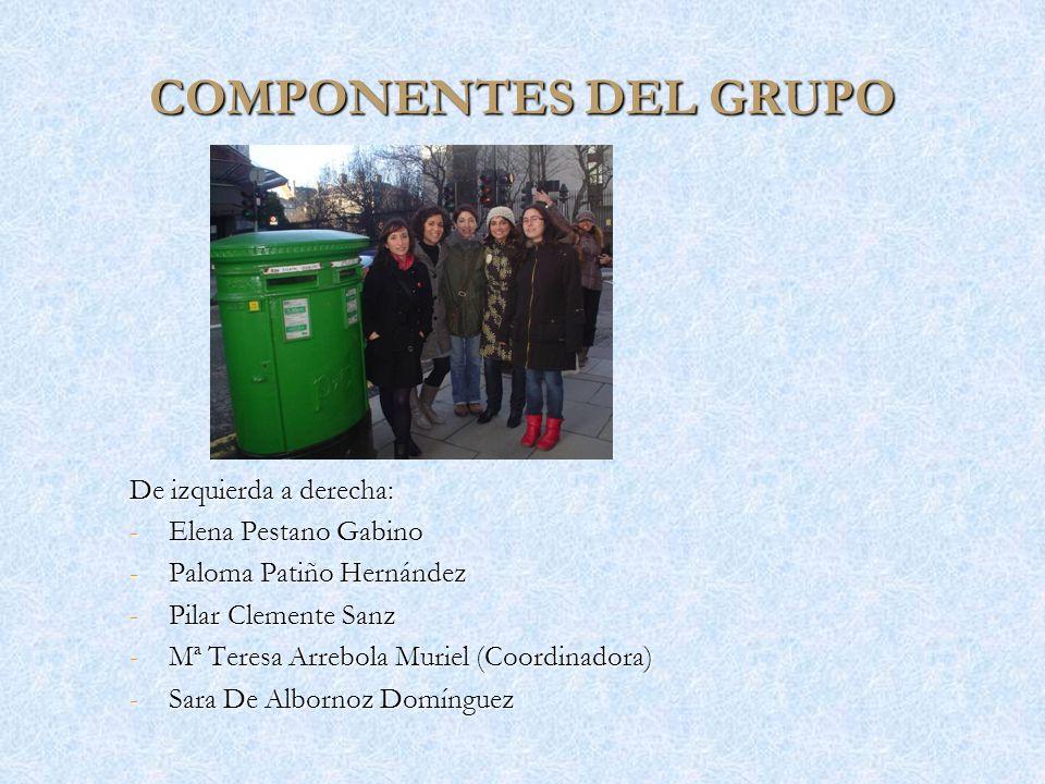 COMPONENTES DEL GRUPO De izquierda a derecha: -Elena Pestano Gabino -Paloma Patiño Hernández -Pilar Clemente Sanz -Mª Teresa Arrebola Muriel (Coordina
