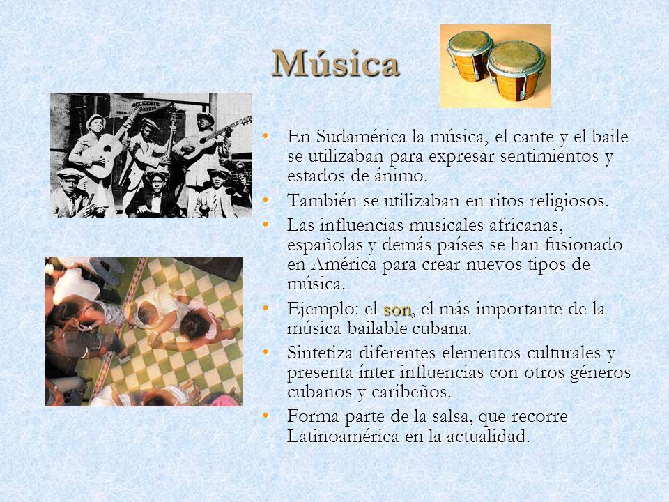 Música En Sudamérica la música, el cante y el baile se utilizaban para expresar sentimientos y estados de ánimo.En Sudamérica la música, el cante y el